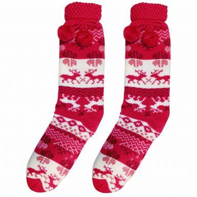 Ladies Pink Full Length Sherpa Fleece Winter Socks