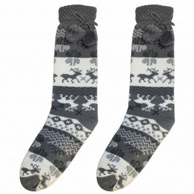 Ladies Grey Full Length Sherpa Fleece Winter Socks