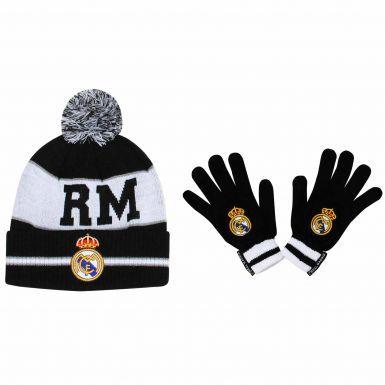 Real Madrid Crest Knitted Hat & Gloves Set