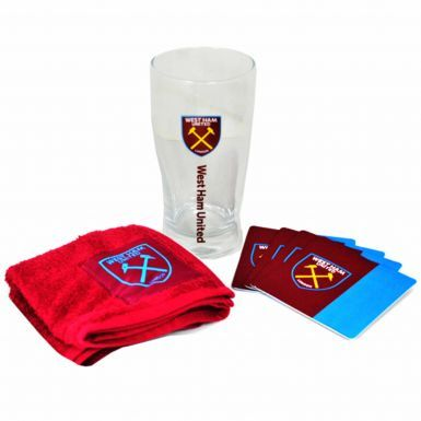 Official West Ham United Pint Glass, Coaster & Bar Towel Mini Bar Set