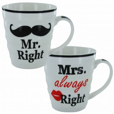 Valentines or Wedding Gift Mr Right and Mrs Always Right Mug Set