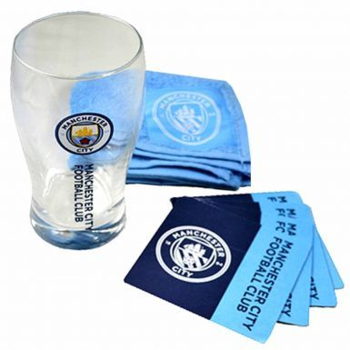 Manchester City Pint Glass, Coasters & Bar Towel Mini Bar Set