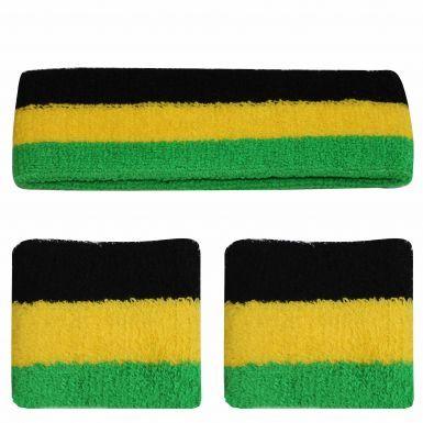 Jamaica Flag Coloured Wristbands & Headband Set