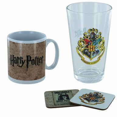 Official Harry Potter Mug, Pint Glass & Coasters Gift Set