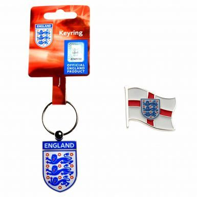 Official England 3 Lions Crest Keyring & Pin Badge Set