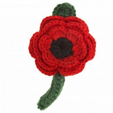 Large Crocheted Poppy Flower Brooch (Fair Trade)