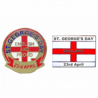 England St Georges Day (23rd April) Pin Badge Set