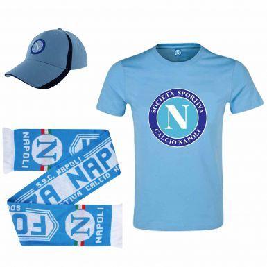 SSC Napoli Ultimate Fan T-Shirt, Scarf & Cap Gift Set