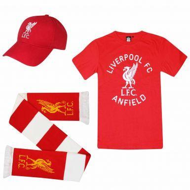 Liverpool FC Ultimate Fan T-Shirt, Scarf & Cap Gift Set