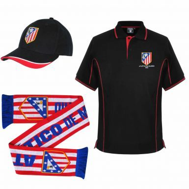 Atletico Madrid Ultimate Fan Polo Shirt, Scarf and Cap Gift Set