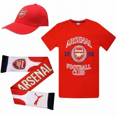Arsenal FC Ultimate Fan T-Shirt, Scarf and Cap Gift Set