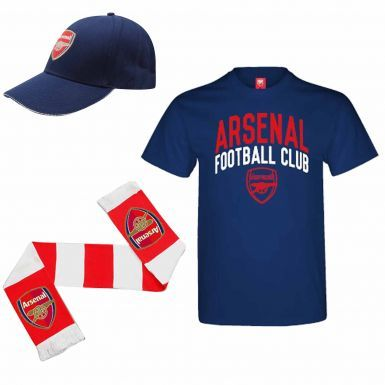 Arsenal FC (Premier League) Ultimate Soccer Fan T-Shirt, Scarf and Cap Gift Set