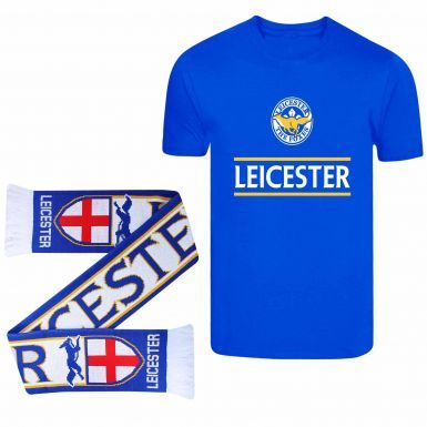 Leicester Ultimate Soccer Fan Foxes T-Shirt & Scarf Gift Set