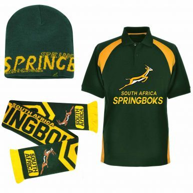 South Africa Springboks Ultimate Fan Polo Shirt, Scarf and Beanie Hat Gift Set