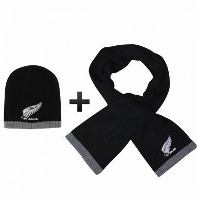 New Zealand Embroidered Fern Scarf & Beanie Hat Gift Set