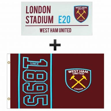Giant West Ham United Flag & London Stadium Street Sign Gift Set