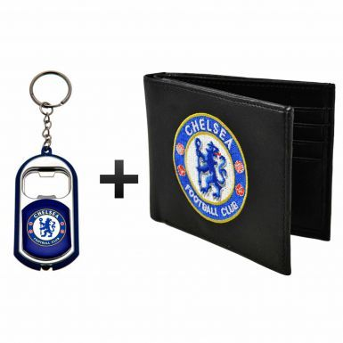 Chelsea FC Leather (PU) Wallet & Keyring/Torch Gift Set