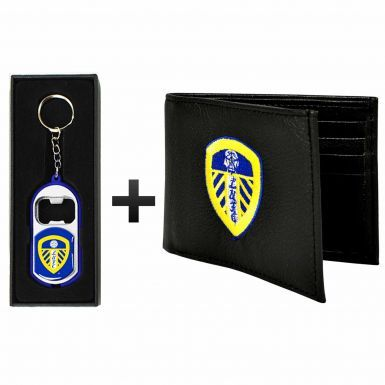 Leeds United Leather (PU) Wallet & Keyring/Torch Gift Set