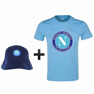 SSC Napoli Ultimate Fan T-Shirt & Sun Hat Gift Set