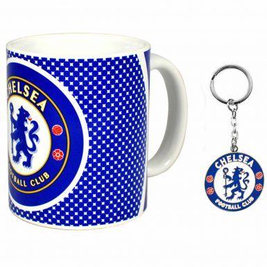 Chelsea FC Crest 11oz Ceramic Mug & Club Crest Keyring Set