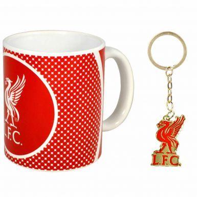Liverpool FC Ceramic 11oz Mug & Crest Keyring Gift Set