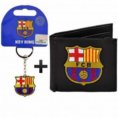 FC Barcelona (PU) Leather Wallet & Keyring Gift Set