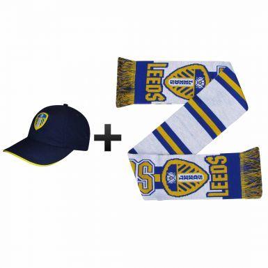 Leeds United Ultimate Fan Scarf & Cap Gift Set