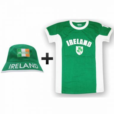 Ireland Side Panel T-Shirt & Sun Hat Gift Set for Sports Fans or St Patricks Day