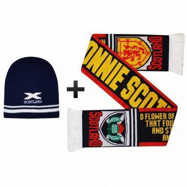 Scotland Saltire Scarf & Beanie Hat Winter Warmers Set