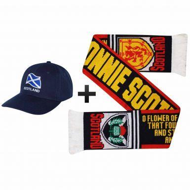 Bonnie Scotland Scarf & Saltire Baseball Cap Gift Set