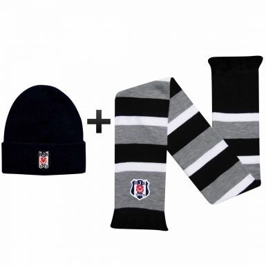 Official Besiktas J.K. Crest Scarf & Hat Gift Set