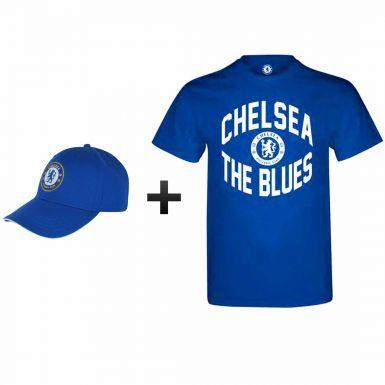 Chelsea FC 2017 Premier League Winners T-Shirt & Cap Gift Set