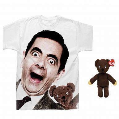 Official Mr Bean Graphic T-Shirt & Beanie Bear Gift Set