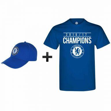 Official Chelsea FC 2017 Premier League Winners T-Shirt & Cap Gift Set