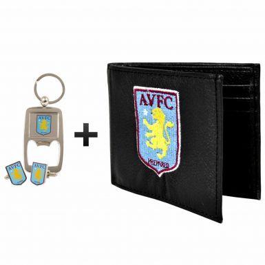 Official Aston Villa (PU) Leather Wallet, Cufflinks & Keyring Gift Set