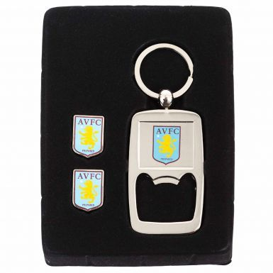 Official Aston Villa (PU) Leather Wallet, Cufflinks & Keyring Gift Set