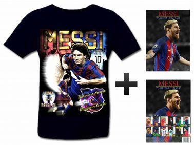 Lionel Messi 2018 Soccer Calendar & T-Shirt Gift Set