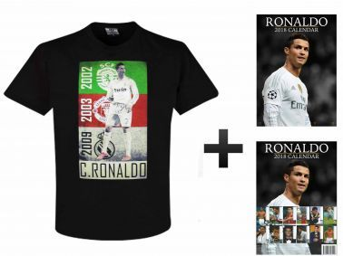 Cristiano Ronaldo 2018 Calendar and T-Shirt Gift Set