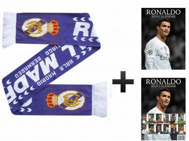 Cristiano Ronaldo 2018 Calendar & Real Madrid Scarf Gift Set