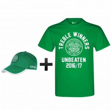Celtic FC 2017 Invincibles & Treble Winners Cap & T-Shirt Gift Set