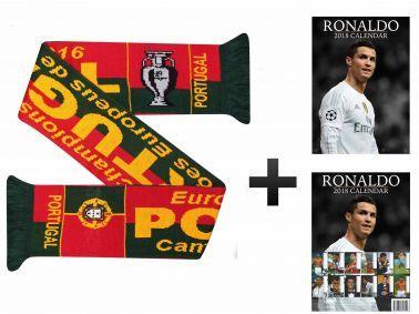 Portugal Champions Scarf & Cristiano Ronaldo 2018 Calendar Gift Set