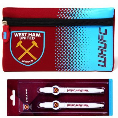 West Ham United Pencil Case & 2 Pen School Set