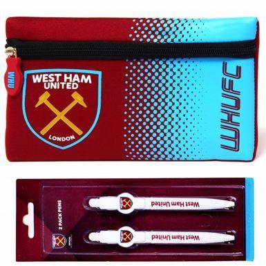 West Ham United Pencil Case & 2 Pen School Set