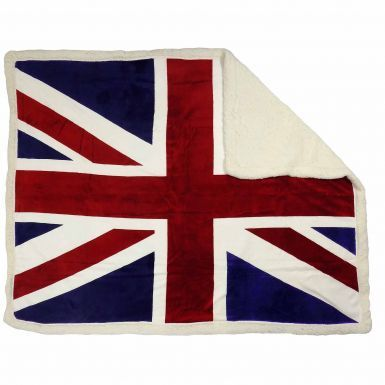 Giant Luxury Union Jack Fleece Sherpa Blanket/Sofa Throw (130cm x 160cm)