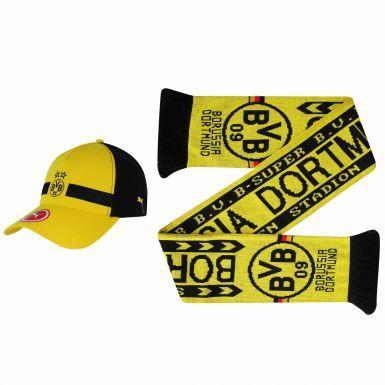 BVB Borussia Dortmund Crest Soccer Scarf & BVB Puma Cap Gift Set