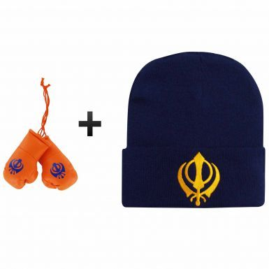 Sikh Khanda Bronx Hat & Mini Boxing Gloves Gift Set