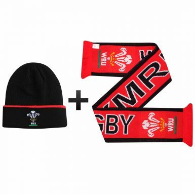 Official WRU Wales Rugby Hat & Scarf Gift Set
