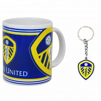 Leeds United Crest 11oz Ceramic Mug & Keyring Set