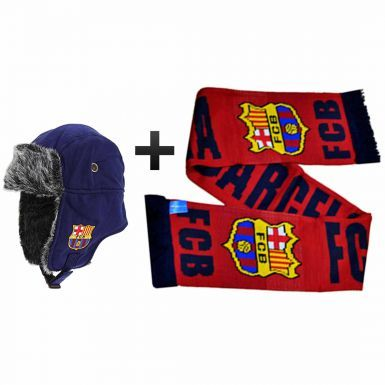 FC Barcelona Trapper Style Hat & Scarf Gift Set