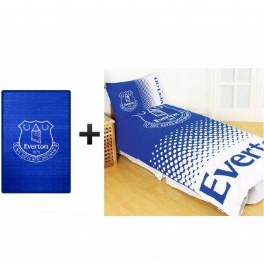 Everton FC Single Duvet Cover Set & Rug Bedroom Gift Set